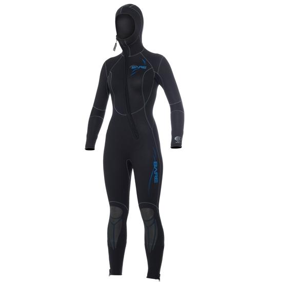 Bare Sport ženska obleka s kapuco 7mm črno-modra