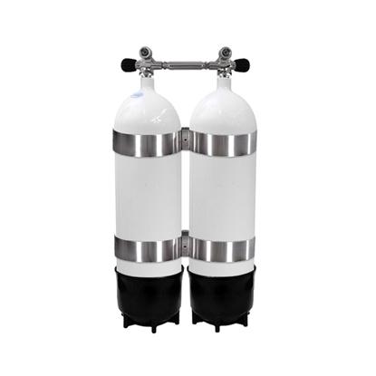 Picture of Faber Jeklenka dvojna 2x10L, ventil z mostom, 2 PVC copata, inox obroči
