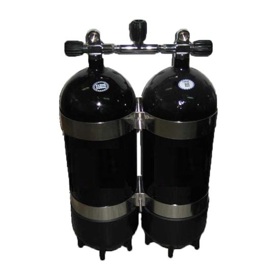 Picture of Faber Jeklenka dvojna 2x15L, ventil z izolatorjem, 2 PVC copata, inox obroči