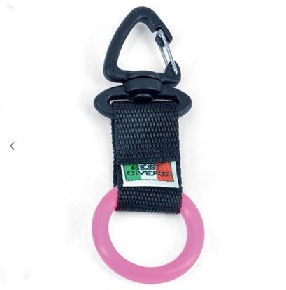 BestDivers karabin z gumi ringom   črno-roza